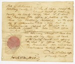 1839 December 3: Ira A. Sabin, Clerk of Circuit Court of Hot Spring County, Clerk's certificate of resignation of A.N. Sabin as Justice of the Peace