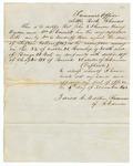1843 November 6: Jared C. Martin, Treasurer of Arkansas, to John S. Skinner, et al., Receipt for redemption of land