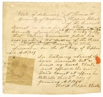 1850 January 1: Thomas H. Flippin, Circuit Clerk of Marion County, to Governor John S. Roane, Certification that Calvin Simmons had resigned as Justice of the Peace