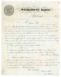 1855 October 31: Wilkins and Company, Bankers, Pittsburgh, to Christian C. Danley, Auditor, Inquiry about banking in Arkansas