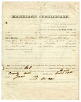 1859 June 18: Marriage certificate: William Packet and Percella Carpenter of Bradley County, Arkansas