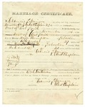 1866 November 17: Marriage Certificate, Major Thompson and Amanda Henry of Sebastian County, at the Post of Fort Smith