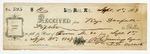 1869 September 1: R.G. Jennings to Keys Danforth, Little Rock, Receipt for $15 for rent of room number 20