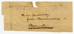"""Undated: """"To his Excellency, John Williams"""" Fragment"""