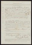 1863 April 25: Pay certificate at discharge, Robert R. Shelton, private, Company G, First Regiment, Arkansas United States volunteers