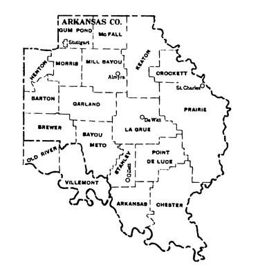 """Arkansas County townships map, 1930"""