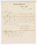 1866 March 21: Letter from Edward Jordan, Solicitor of the Treasury, acknowledging receipt of account from Samuel Cooper, clerk, U.S. District Court, Van Buren, Arkansas