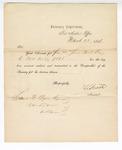 1866 March 22: Letter from T. L. Smith, Auditor, Treasury Department, acknowledging receipt and audit of account of Samuel Cooper, clerk, U.S. District Court, Van Buren, Arkansas