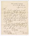 1866 August 29: U.S. v. Jonathan Eno, late postmaster of Van Buren, letter from J.M. McGrew, acting Auditor of the Treasury, for the Post Office Department, to Elijah Ham, U.S. District Attorney, Little Rock, requesting Ham to collect the indebtedness from the suit initiated in 1857