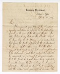 1866 September 12: Letter from acting Solicitor, Treasury Department, to Samuel Cooper, clerk of the District Court, Van Buren, Arkansas, regarding cost and deposits of public funds in the case of the steamer Hesper