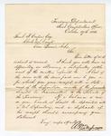 1866 October 27: Letter from First Comptroller's Office, Treasury Department, to Samuel Cooper, clerk, U.S. Court, Van Buren, Arkansas, regarding settlement of accounts and deposit of funds