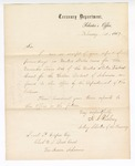 1867 February 1: Letter from H.A. Risley, acting Solicitor, Treasury Department, acknowledging receipt of report and proceedings for November 1866 term from Samuel Cooper, clerk, U.S. District Court, Van Buren, Arkansas