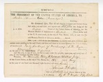 1867 May 16: Subpoena, to Martin Collar, Indian agent at Fort Smith, in U.S. v. Forty Packages of Merchandise; S. H. Payne, claimant; issued by Henry Caldwell, district judge; Samuel Cooper, clerk; R.F. Naylor, deputy clerk; served by L. C White, marshal