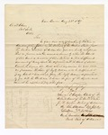 1867 August 22: Letter to A. H. Cline, of Fort Smith, from Samuel Cooper, clerk; John Ogden, deputy clerk; and Luther White, U.S. Marshal; regarding a ruling on fees; also includes note from H. C. Caldwell