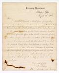 1867 August 26: Letter from H A Risley, Acting Solicitor of the Treasury, transmitting forms and instructions for making reports on cases arising under internal revenue laws, to Samuel Cooper, clerk of District Court, Van Buren, Arkansas
