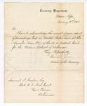 1868 January 11: Letter from Edward Jordan, Solicitor of the Treasury, acknowledging receipt of proceedings of cases for the November term, of Samuel Cooper, clerk, U.S. District Court, Van Buren, Arkansas