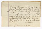 1872 November: Note by A.J. Warner noting his use of two horse, two harnesses, and one wagon as security for appearance for the November term of court, having been given to William Britton U.S. Marshall, and witness by J.M Harruh and signed James Churchill.