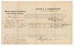1874 October 6: Voucher, U.S. v. John Eraus, retail liquor dealer without paying special tax; Preston Douglas and W.C. Alexander, witness; includes cost of per diem and mileage; Edward J. Brooks, commissioner