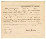 1874 November 17: Voucher, U.S. v. George Edmondson, retail liquor dealer not paying special tax; includes cost of travel expenses, feeding prisoner, transportation, 1 guard, and travel expenses for guard; William Huffier and Hamilton Mouse, posse comitatus; James Johnson, guard; Tony Nevis, U.S. deputy marshal; E.J. Brooks, commissioner; included is a receipt for James Johnson, guard, for his time on this job