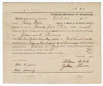 1874 November 17: Voucher, U.S. v. Tec Brown, passing counterfeit U.S. currency; includes cost of travel expenses, feeding prisoner, transportation, and travel expenses for 2 guards; William Echols and John Pierce, guards; served by Tony Nevis, U.S. deputy marshal; E.J. Brooks, commissioner; included is a receipt for William Echols and John Pierce, guards, for their time on this job