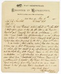 1875 May 6: Letter from Fay Kempstead, register, to J.O. Churchill; regarding bankruptcy cases
