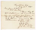 1875 July 28: Letter to James Fagan requesting pay for William F. Stemmons for witness and mileage in the case of U.S. v. M.K. Schurn; including E.B. Harrison, M.P. Wright, J.R. Wright, B.E. Albert, and J.N. Pennhoun