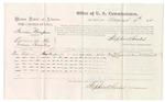 1875 August 6: Voucher, U.S. v. Harrison Thompson, larceny , Tom Tysom, witness; Stephen Wheeler, commissioner