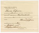 1875 August 24: Proclamation of worth, Thomas Lafavre; Stephen Wheeler, commissioner