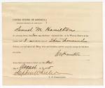 1875 August 24: Proclamation of worth, Samuel M. Hamilton; Stephen Wheeler, commissioner