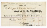 Circa 1875 October 09: Voucher, to James F. Fagan, U.S. Marshall, for socks for Jim Devany, from C.R. Coolidge, Cotton Factor in Helena, Arkansas; Reed payment, C.R. Coolidge, by Moony, clerk