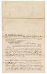 1875 November 29: Voucher, to Lewis Robinson, of Fort Smith, Arkansas, for assisting J.T. Cox, Jr., U.S. deputy marshal, in the arrest for five sharps rifles, one spring filed rifle, A.C. William Spencer, Frank Coiner, Bud Fisher, and one Sanders; Stephen Wheeler, clerk; J.A. Williams, D.C.
