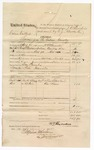 1875 June 14: Voucher, U.S. v. Calvin Colbert, larceny in the Indian Country; includes cost of mileage, feeding prisoner, and travel expenses; Marsh Bourland and One Sam, subpoenaed witnesses; served by W.V. Alexander, U.S. deputy marshal; Stephen Wheeler, clerk; James O. Churchill, commissioner; issued by E.J. Brooks