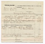 1876 September 29: Voucher, U.S. v. William Blue and Charles Cartes, larceny; includes cost of mileage, travel expenses, and feeding two prisoners; One Forkishtubbee and Henry S. Edmond, subpoenaed witnesses; Thomas Compton, posse comitatus; served by J.W. Searle; Stephen Wheeler, commissioner