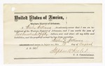 1876 August 12: Bond for defendant, U.S. v. Alfred Williams, larceny; Wesley Williams and James C. Bourland, sureties with notes of surety attached; J.W. Hartmen, judge; Stephen Wheeler, commissioner