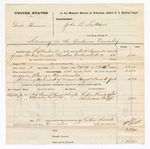 1876 November 1: Partial voucher, U.S. v. Darh Shrumer, larceny in the Indian Country; includes cost of travel expenses and feeding one prisoner; Rufus Henly and A. Chepp, subpoenaed witnesses; George Rivercumbes, posse comitatus; John B. Satham, commissioner; served by W.R. Ayers