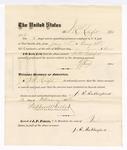 1876 February 12: Voucher, to J.R. Rutherford, for service guarding prisoners in U.S. jail; G.S. Peirce, jailor; Stephen Wheeler, clerk; J.F. Fagan, U.S. marshal