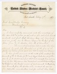 1876 February 07: Letter, from Isaac C. Parker, judge, regarding bills due to Bocquin and Reutzel from J.N. Sarber, late U.S. marshal; W.R. Walker and Argyle Qushenbery, posse comitatus