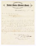 1876 February 7: Letter, from Isaac C. Parker, judge, regarding bills due to Mr. Casper Reutzel from J.N. Sarber, late U.S. marshal