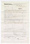 1876 March 30: Voucher, U.S. v. Ab. Cox, larceny; includes cost of travel expenses, feeding one prisoner, and one guard; Hugh Cox, James McCoy, and Wilson Colbert, subpoenaed witnesses; John S. Birch, guard; served by T.A. Teryman, U.S. deputy marshal; John M. Peck, commissioner