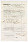 1876 March 31: Voucher, U.S. v. John Blauz, larceny; includes cost of travel expenses, feeding one prisoner, and two guards; Charles Miller and William George, guards; Lewis Folsom, John Anderson, and Tobe McIntosh, subpoenaed witnesses; served by J.S. Vandegriff, U.S. deputy marshal; John M. Peck, commissioner