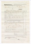 1876 March 30: Voucher, Henry Love, murder; includes cost of travel expenses, feeding one prisoner, and mileage; John Kemp and R.A. Donelley, posse comitatus; Taylor Potts, Mrs. Lemnel Parr, and George Love, subpoenaed witnesses; served by T.A. Teryman, U.S. deputy marshal; John M. Peck, commissioner