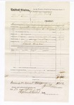 1876 April 22: Voucher, U.S. v. Bud Dean, larceny; includes cost of travel expenses, feeding one prisoner, and mileage; Charles Handley and Davis Dixon, posse comitatus; served by J.N. Slosson, U.S. deputy marshal; Stephen Wheeler, clerk; John M. Peck, commissioner
