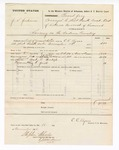 1876 November 15: Voucher, U.S. v. J.S. Jackson, larceny in the Indian Country; includes cost of feeding one prisoner and one guard; Martin T. Freligh, guard; served by C.C. Ayers, U.S. deputy marshal; Stephen Wheeler, clerk