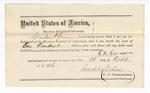 1876 October 26: Bond for defendant, U.S. v. George White, introducing spirituous liquor; Grandison F. German, surety with note of surety attached; Stephen Wheeler, commissioner; John B. Lanham, commissioner; James Brissolara, assistant U.S. attorney
