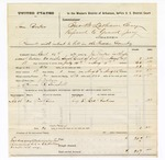 1877 August 06: Voucher, U.S. v. Sam Booker, assault with intent to kill; includes cost of feeding one prisoner, mileage, and travel expenses; J. Wallace, posse comitatus; R. Slewball, guard; Ed. Ankins, witness