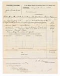 1877 August 30: Voucher, U.S. v. John Smith, et. Al, assault with intent to kill in the Indian Country; includes cost of mileage, feeding one prisoner, and travel expenses; Ben S. Ayers, posse comitatus; served by C.C. Ayers, U.S. deputy marshal; Stephen Wheeler, clerk