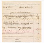 1877 August 01: Voucher, U.S. v. Robert Brown, larceny; includes cost of mileage, feeding one prisoner, and travel expenses; Sampren Seely and Booker James, witnesses; served by J.H. Smith, U.S. deputy marshal; Stephen Wheeler, commissioner