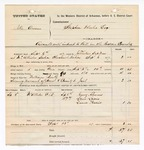 1877 September 13: Voucher, U.S. v. Ike Owens, assault with intent to kill; includes cost of mileage, feeding one prisoner, and subpoenaed witnesses; Harry Abrams, Louis Lyons, and Laura Harris, witnesses; William Birks, posse comitatus; served by John Tinker, U.S. deputy marshal; Stephen Wheeler, commissioner