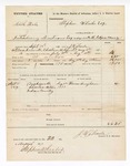 1877 September 15: Voucher, U.S. v. North Hale, introducing spirituous liquor into the Indian Country; includes cost of mileage, feeding one prisoner, and travel expenses; Thomas Bingham, witness; served by J.W. Searle, U.S. deputy marshal; Stephen Wheeler, commissioner