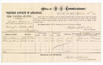 1877 September 18: Voucher, U.S. v. Jasper Wilson, removing from distillery spirits on which tax had not been paid; includes cost of per diem and mileage; Edward P. Maxey and Alexander Aaron, witnesses; D.P. Upham, U.S. marshal; Stephen Wheeler, commissioner